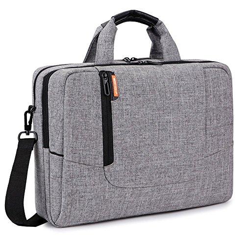 Brinch 15,6 Zoll Nylon Laptop Tasche Herren Umhängetasche Messenger Bag Aktentasche Businesstasche Arbeitstasche Schultertasche für 15-15,6 Zoll Laptop/MacBook/Notebook,Hellgrau Nylon Notebook-tasche