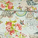 Dekostoff Postkarten & Blumen hellblau Canvasstoff