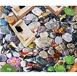 Rureng Benutzerdefinierte 3D Boden Lotus Teich Karpfen Kieselsteine 3D-Room-Wallpaper 3D Bodenbelag Kleber-Papier-Für-Möbel-Bodenkleber-200X140Cm