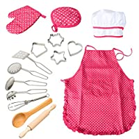 ThinkMax 15 Pcs Chef Play Set, Kitchen Costume Role Pretend Kits, Cooking Apron with Utensils for Girls (Red)