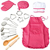 ThinkMax 15 Pcs Chef Play Set, Kitchen Costume Role Pretend Kits, Cooking Apron with Utensils for Girls