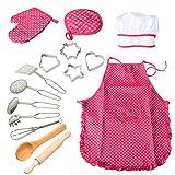 ThinkMax 15 Pcs Chef de Cuisine Costume Enfants Ensemble Tablier avec des Enfants Jeu de Chef, Costume de Cuisine Costume Kits, Tablier de Cuisine avec Ustensiles pour Filles (Rouge)
