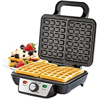 Andrew James Dual Belgian Waffle Maker 1000W - Electric Iron with Large Deep Square Non Stick Plates - Perfect for breakfast waffles and brunch ideas (2 Slice)