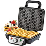 Andrew James Waffle Maker 2 Slice Belgian Style Electric Machine with Non-Stick Plates