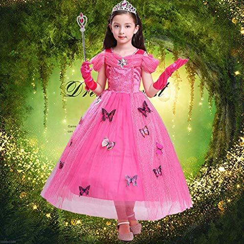 DDHZTA Halloween Cinderella Schneeweißes Kleid Mädchenkleider Weihnachts Leistung Kostüm,Pink,110Cm