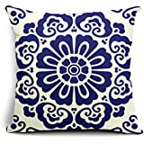 PopPhoto® 18 X 18 Inches Thick Retro Cotton and Linen Throw Pillow Cover Cushion Cover Car Cushion Pillow Case, Blue Printing Totem (004)