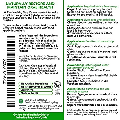 All Natural Plaque Clean | Cat & Dog Plaque Remover & Bad Breath Freshener Powder | 160-320 Servings | 160ml/100g | The Healthiest Choice in Pets Teeth Cleaning Products to Prevent Gum Disease from The Healthy Dog Co
