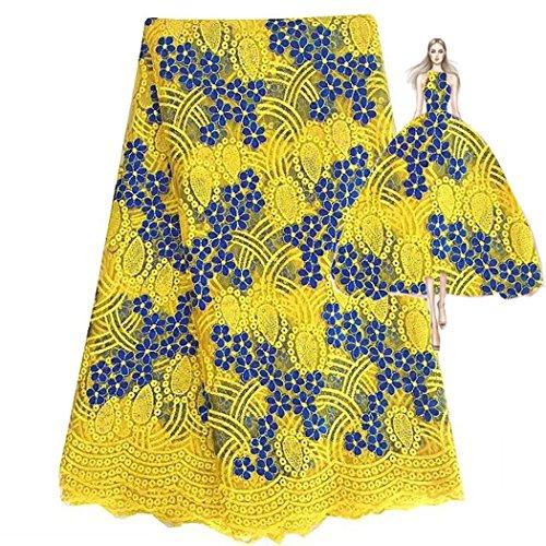 Spray Gold Trim (pqdaysun 5Meter afrikanischen Spitze Stoffe afrikanischen Spitze Materialien, gelb, 4,5 m)