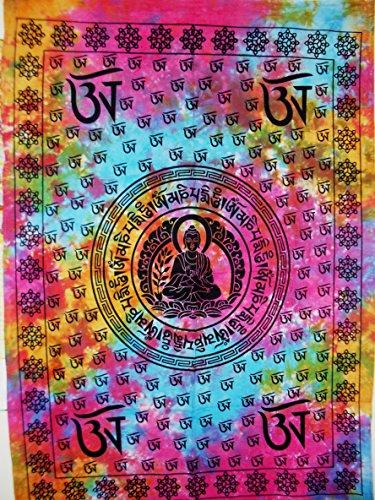 Om Póster de Buda Multi Tie Dye, tapiz hippie, Indian dormitorio Deco