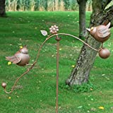 "51"" Two Birds Rocking Balancing Metal Garden Wind Rocker Spinner"