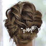 IYOU Horquillas para el cabello con flores de novia diamantes de imitación plateados pinzas para el cabello para novia perlas