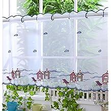 Voile cortina de visillo paneles – D23 – casetas de playa (azul marino) 12