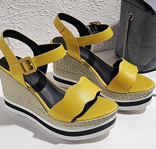 PBXP Wedge OL Plattform Casual Peep Toe Wave Pattern Gürtel Breathable Klassische Knöchelriemen Gürtelschnalle Anti-Rutsch Damen Sandalen EU Größe 33-39 Yellow