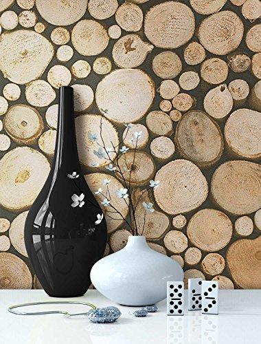 Tapete Holz Muster in Beige Braun | schöne edle Tapete im Brennholz Design | moderne 3D Optik für Wohnzimmer, Schlafzimmer od. Küche inkl.NewroomTapezier-Profibroschüre mit Tipps für perfekteWände -