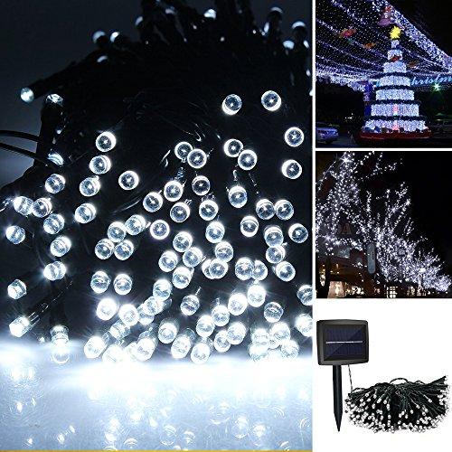 iRegro 100 LED esterna della luce della stringa leggiadramente alimentate solari illuminazione impermeabile Decorazione natalizia (Bianca Leggiadramente Solare Luce)