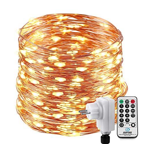 Qedertek luci albero di natale, catena luminosa 20m 200 led, luci di natale esterno ed interno, filo di rame, luci bianco caldo addobbi natalizi esterno, luci natalizie da esterno ed interno