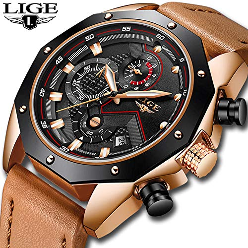 Lige Mens Relojes Top Brand Luxury Quartz Gold Watch Hombres Casual Cuero Militar Impermeable Reloj...