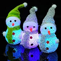 Unique WElinks 3Pcs Lovely Snowman Shape Night Light 7 Color Changing Snowman LED Lamp EVA Christmas Party Wedding Decoration Xmas Gift for Kids Favor Gift Toy Christmas Home Bedroom Decor Ornaments?