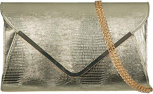 Descuento En Línea Ladies animale Croc stampa busta piatta sera pochette Gold Visita Descuento Calidad Para La Venta Libre Del Envío Aclaramiento De 100% Auténtico GsfRSOgC