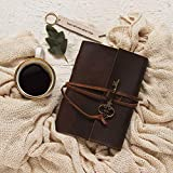 Storeindya LEDER JOURNAL Tagebuch mit antikem Schlüssel - handgefertigter gebundener Notizblock, ungefüttertes Papier 17,78x12,7 cm,Weihnachtsgeschenke für Kunst-Skizzenbuch, Reisetagebuch(Design 4)