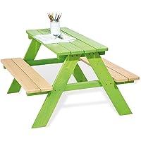 Pinolino Kindersitzgarnitur Nicki für 4, aus massivem Holz, 2 Bänke mit 1 Tisch, empfohlen für Kinder ab 2 Jahren, grün