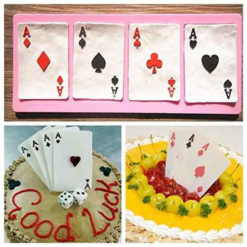 Bluelover Polymer Poker Carte silicone Fandant muffa cioccolato argilla