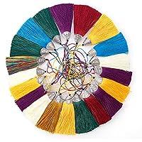 NBEADS 20 Piezas 80 mm Sedoso Borla Colgante encantos con Tapas para el Bolso artesanía Correas de Cadena Clave decoración Accesorios de Bricolaje, (Color Mezclado enviado al Azar)