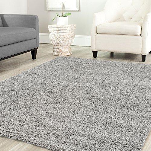 Teppich-Home STELLA Shaggy Tappeto colore pelo lungo tappeti moderni per  soggiorno camera letto Tinta Unita verde, 80x150 cm