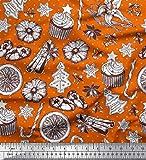 Soimoi Orange Baumwolljersey Stoff Gewürze, Kekse & Kuchen