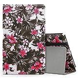 MoKo Hülle für All-New Amazon Fire HD 8 Tablet (7th Generation – 2017 Modell) - Kunstleder Ständer Schutzhülle Smart Cover mit Stift-Schleife Fire HD 8, Schwarze und Rosa Blume