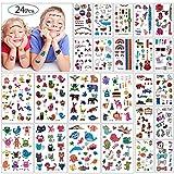 Kindertattoos, MOOKLIN [24 Blätter] Monster Tattoos Set Wasserdicht Aufkleber Flash Kleine Bögen Temporäre Tattoos Sticker für Jugendliche Mädchen Jungen Kinder Kindergeburtstag (Über 300 Tattoos)