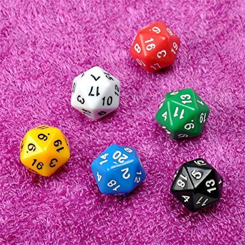 JohnJohnsen 6pcs / Set D20 Dice Opaque Twenty Sided Dice für Dungeons & Dragons Multi Color Gaming Harz Polyhedral Spiele Zubehör (Multicolor) (Dragon Harz)