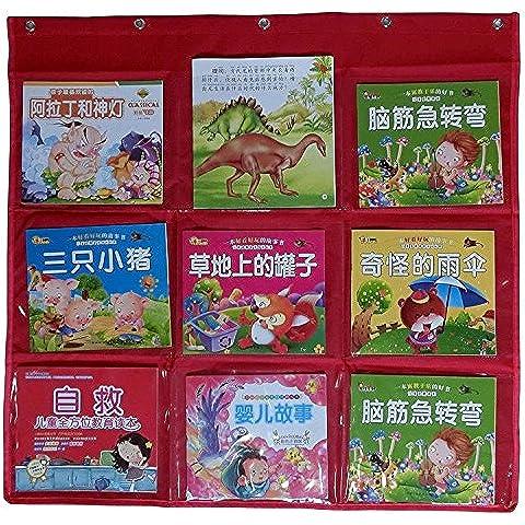 Wander Agio Biblioteca Escolar niño con tarjeta de bolsillo libro tabla de pared puerta para colgar organizador de materiales