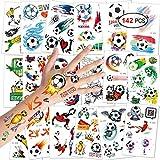 Konsait Fußball Tattoos Kinder, Temporäre Tattoos Kinder Aufkleber Sticker für Junge Kindergeburtstag Mitgebsel Fußball Party, 18 Blatt