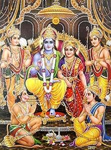 Buy Ram Darbar Hindu God Poster With Glitter Effect Reprint On