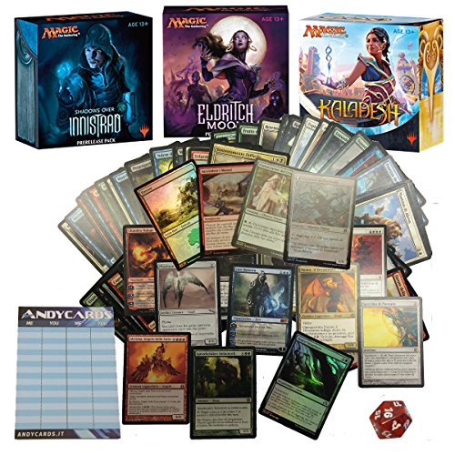 Lotto 100 carte Magic: the Gathering IN ITALIANO con 1 PLANESWALKER assicurato MINIMO 10 RARE e 5 FOIL + Dado Spin Down + Segnapunti Andycards