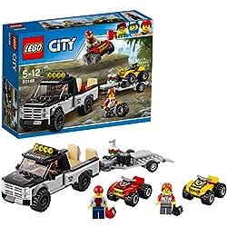 LEGO City Great Vehicles - Todoterreno del equipo de carreras, divertido set de construcción con dos quads y una camioneta con remolque (60148)
