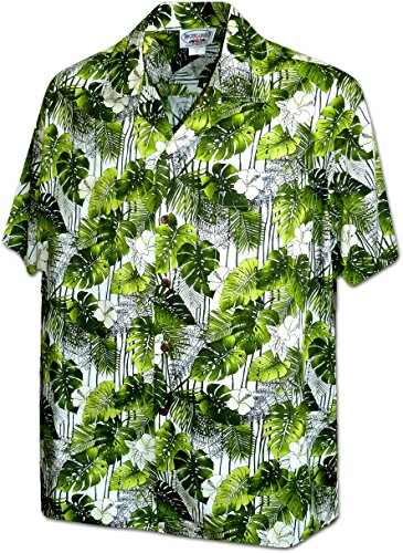 Pacific Legend Monstera Garden Herren Aloha Hemd - Grün - XX-Large -