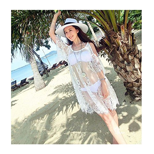 Frauen Sexy Sheer Bikini Cover-up Hollow Lace Beachwear