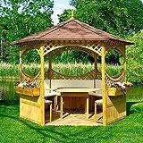 Pavillon PALMA V mit Bitumenschindeldach Holzpavillon Gartenlaube 326x326x280cm