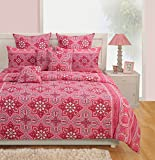 Swayam Signature Printed Cotton Double Bedsheet with 2 Pillow Covers - Multicolor