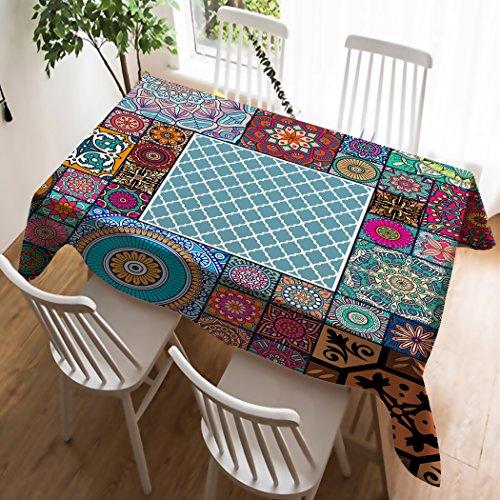 Violetpos Tischdecke Tischtuch Leinendecke Leinen Pflegeleicht Abwaschbar Schmutzabweisend Tischwäsche Marokkanische...