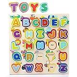 TOP BRIGHT Kinder ABC Puzzle Holz Lernspielzeug Alphabetpuzzles Geschenk für Mädchen Jungen Babys ab 2 Jahren Alte