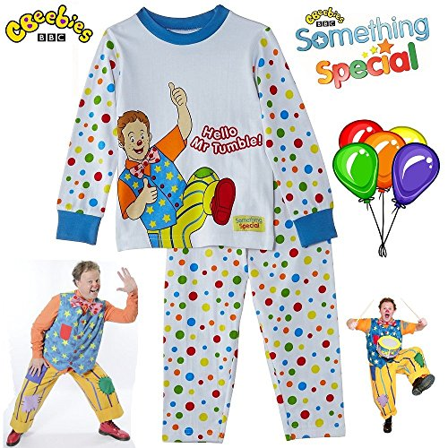 Image of BBC Something Special® Hello Mr Tumble Children Kids Baby Spotty Pyjamas Suit Cbeebies TV Show (T-Shirt with Trousers) Night and Summer Clothes