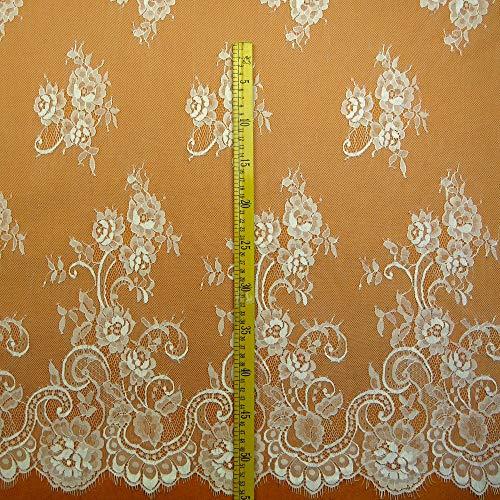Chantilly pizzo floreale vestito da sposa/matrimonio fiore tessuto scallop trim applique abbigliamento tende nero/bianco sporco 300cmx150cm ale01, off white, 300cmx150cm