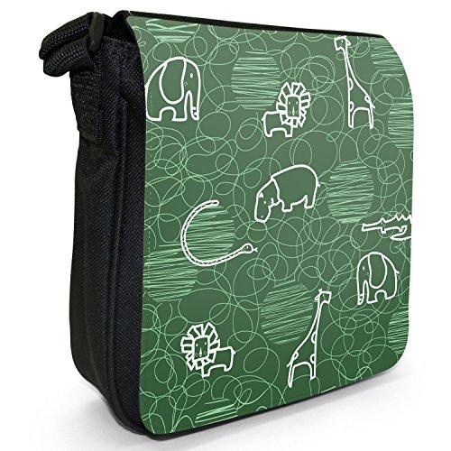 Giraffa, leone, elefante e ippopotamo Borsa a spalla piccola di tela, colore: nero, taglia: S Nero (verde)