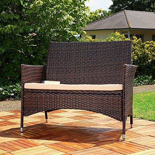 Rattan Gartenbank schwarz/braun mit Auflage Sitzbank Polyrattan Sitzkissen Sofa - 2