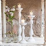 Shabby Chic Spindel Kerzenhalter Set weiß