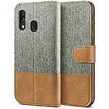 Funda de cuero y tela con tapa y billetero para Samsung Galaxy A40