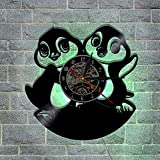 OOFAY Clock@ Wanduhr Vinyl Schallplattenuhr 3D Design-Uhr Wand-Deko Familien KreativitäT LED PersöNlichkeit Netter Pinguin Wohnzimmer Schlafzimmer Dekoration /30CM Schwarz